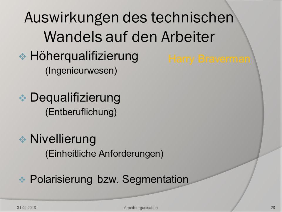 Auswirkungen des technischen Wandels auf den Arbeiter  Höherqualifizierung (Ingenieurwesen)  Dequalifizierung (Entberuflichung)  Nivellierung (Einh