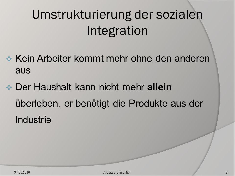 Umstrukturierung der sozialen Integration  Kein Arbeiter kommt mehr ohne den anderen aus  Der Haushalt kann nicht mehr allein überleben, er benötigt