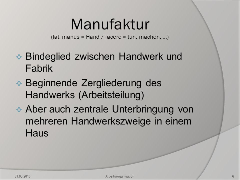 Manufaktur (lat. manus = Hand / facere = tun, machen, …)  Bindeglied zwischen Handwerk und Fabrik  Beginnende Zergliederung des Handwerks (Arbeitste