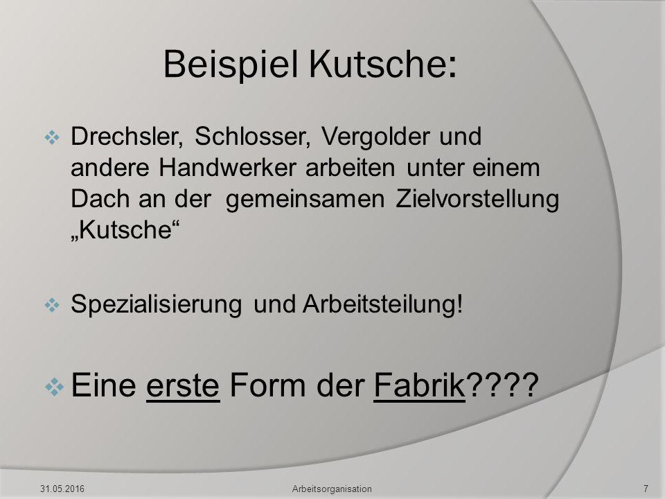 """Beispiel Kutsche:  Drechsler, Schlosser, Vergolder und andere Handwerker arbeiten unter einem Dach an der gemeinsamen Zielvorstellung """"Kutsche""""  Spe"""