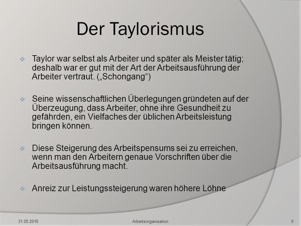 Der Taylorismus  Taylor war selbst als Arbeiter und später als Meister tätig; deshalb war er gut mit der Art der Arbeitsausführung der Arbeiter vertr