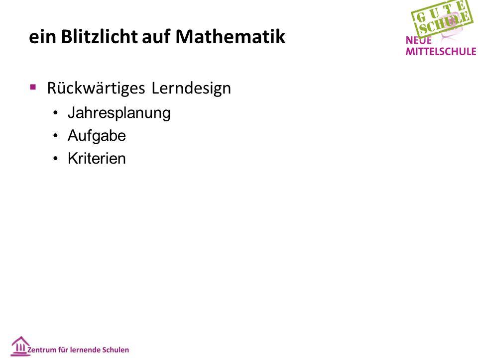 ein Blitzlicht auf Mathematik  Rückwärtiges Lerndesign Jahresplanung Aufgabe Kriterien