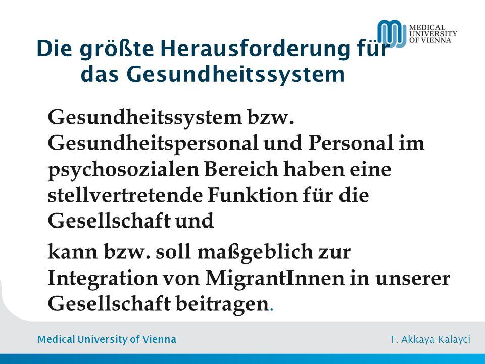 Medical University of Vienna T. Akkaya-Kalayci Inanspruchnahme der Gesundheitsversorgung