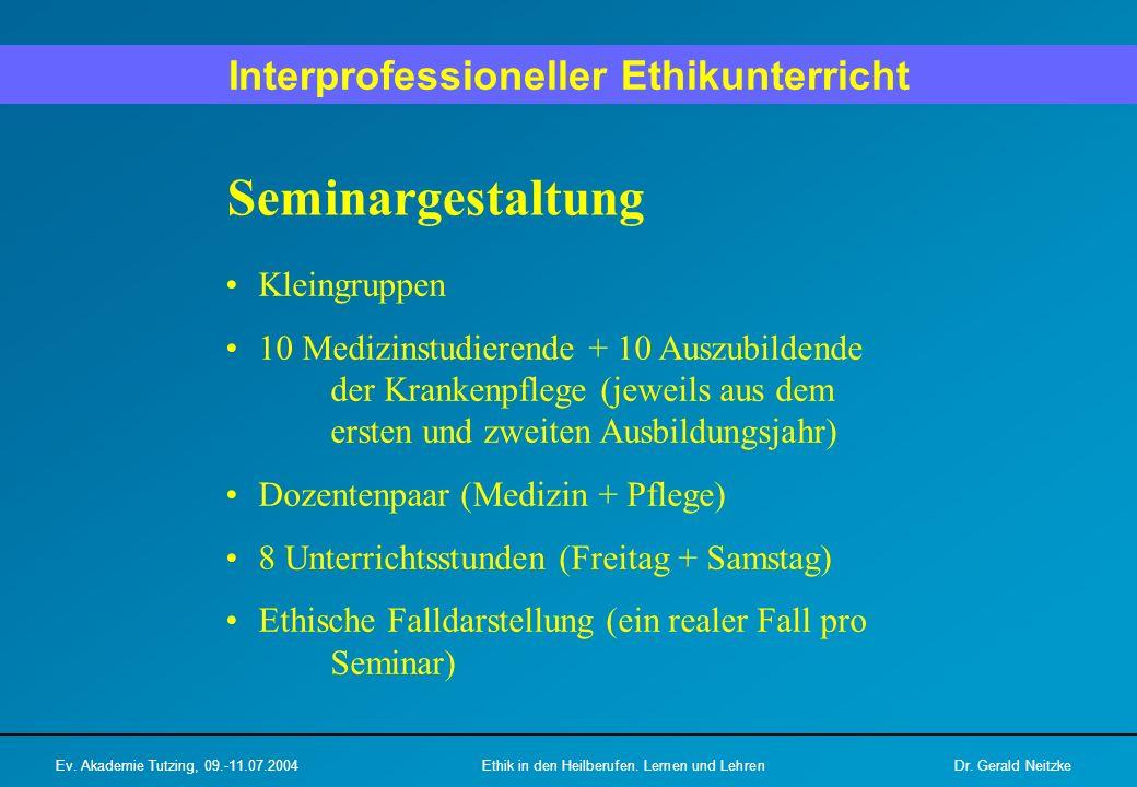Seminargestaltung Kleingruppen 10 Medizinstudierende + 10 Auszubildende der Krankenpflege (jeweils aus dem ersten und zweiten Ausbildungsjahr) Dozente