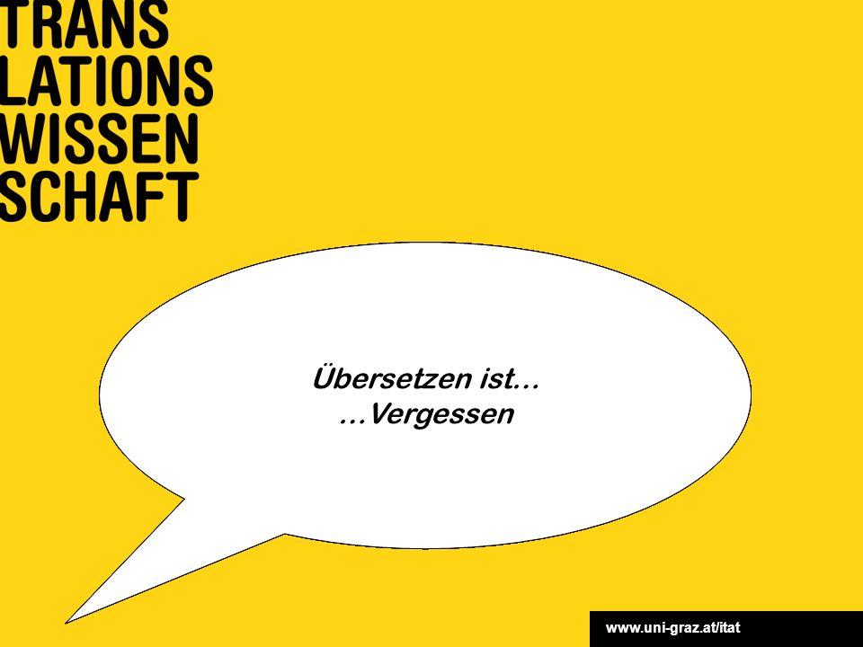 www.uni-graz.at/itat Wir wissen eigentlich noch gar nicht, was eine Uebersetzung eigentlich sey (F. Schlegel) Übersetzen ist… …eine Kunst Übersetzen i