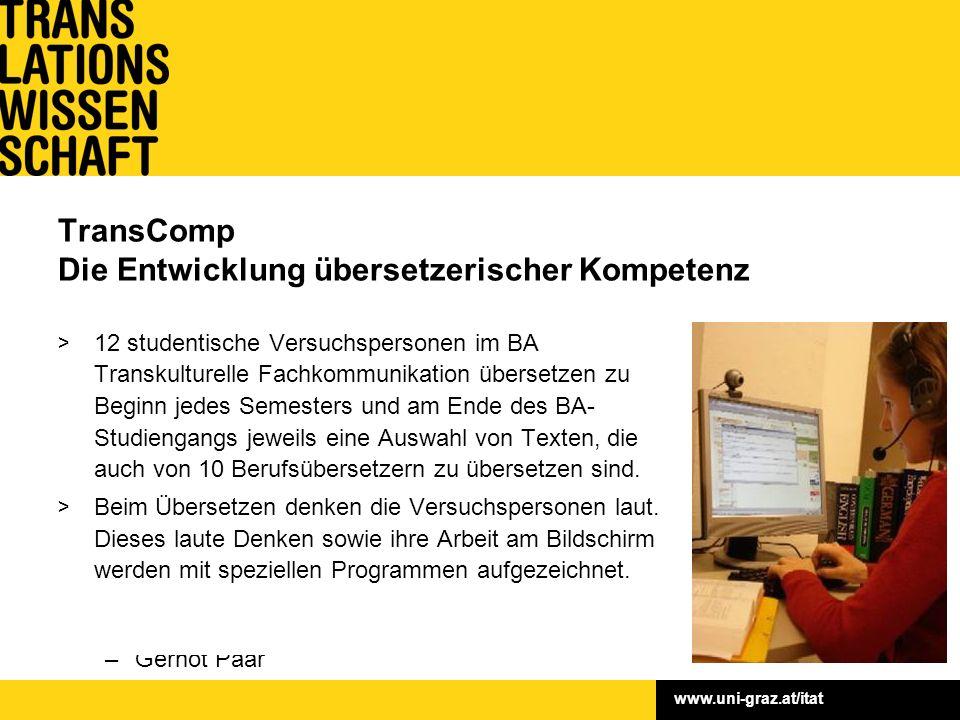 www.uni-graz.at/itat Fördergeber: FWF Laufzeit: September 2008 – August 2011 Förderungssumme: € 265.000,– Leitung: Univ.-Prof. Dr. Susanne Göpferich P