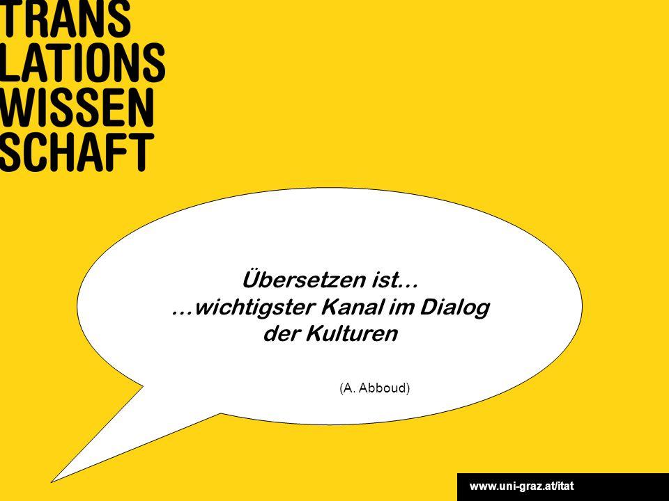 www.uni-graz.at/itat Übersetzen ist… …wichtigster Kanal im Dialog der Kulturen (A. Abboud)