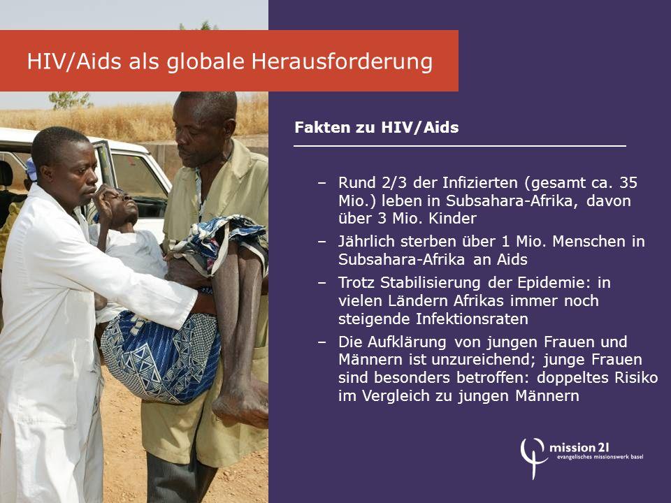 Das Engagement von mission 21 Gesundheitsarbeit früher und heute –Gesundheitsarbeit ist wesentlicher Bestandteil der Arbeit der christlichen Missionswerke seit beinahe 200 Jahren (Missionsspitäler) –Konzentration auf die Basis-Gesund- heitsversorgung im vom Staat vernachlässigten ländlichen Raum –Frauen- und Säuglingsgesundheit sowie Bekämpfung von HIV/Aids im Fokus –Aus- und Weiterbildung von medizinischem Personal vor Ort –Förderung der Naturmedizin