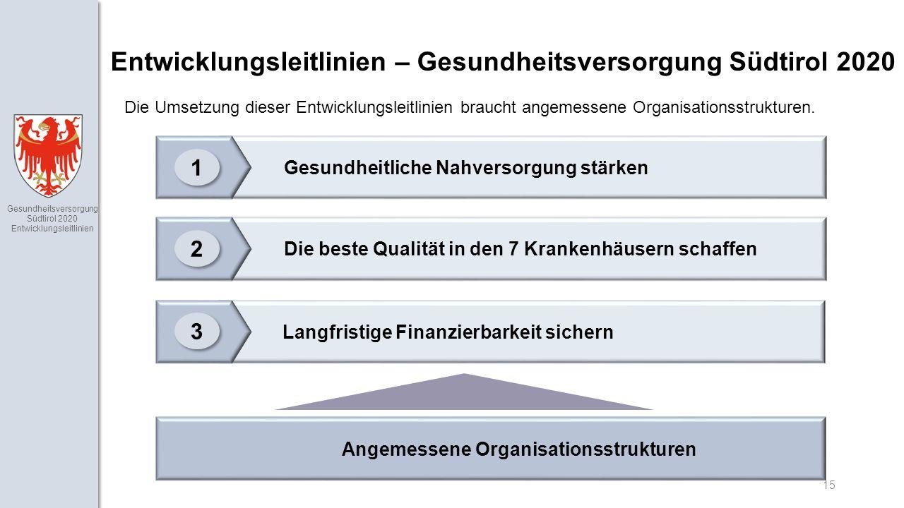 Gesundheitsversorgung Südtirol 2020 Entwicklungsleitlinien 15 Die Umsetzung dieser Entwicklungsleitlinien braucht angemessene Organisationsstrukturen.