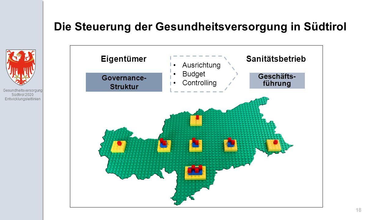 Gesundheitsversorgung Südtirol 2020 Entwicklungsleitlinien 18 Die Steuerung der Gesundheitsversorgung in Südtirol EigentümerSanitätsbetrieb Governance- Struktur Geschäfts- führung Ausrichtung Budget Controlling