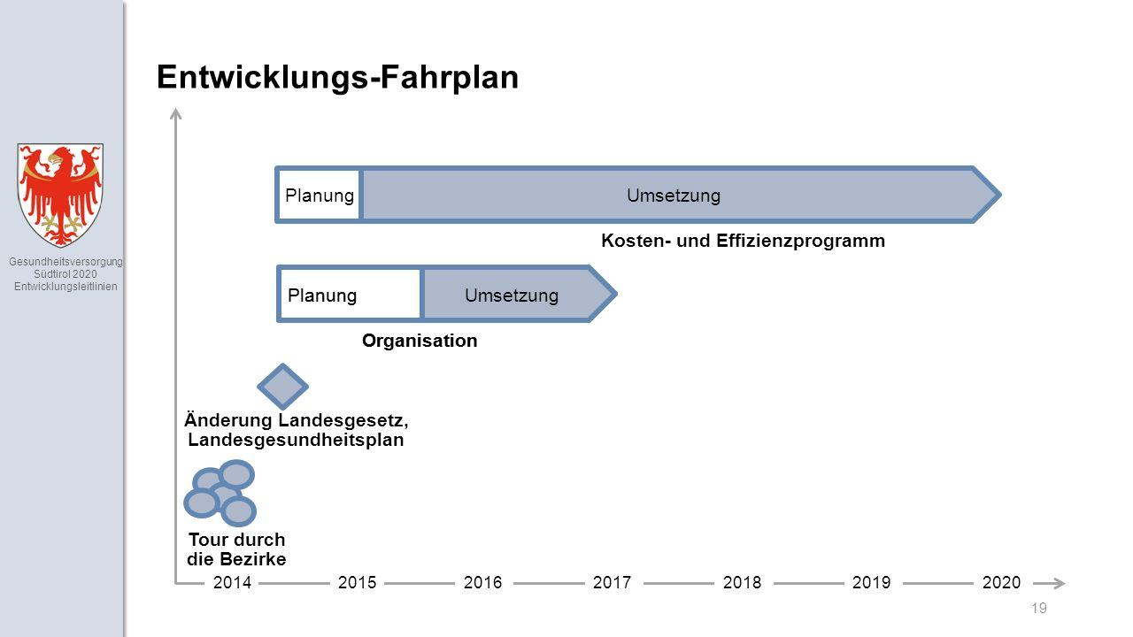 Gesundheitsversorgung Südtirol 2020 Entwicklungsleitlinien Planung 19 Entwicklungs-Fahrplan 2014201520162017201820192020 Tour durch die Bezirke Änderung Landesgesetz, Landesgesundheitsplan PlanungUmsetzung Organisation Umsetzung Kosten- und Effizienzprogramm PlanungUmsetzung Organisation