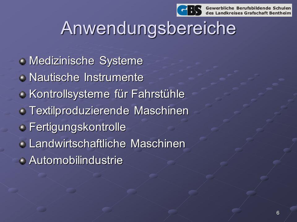 6 Anwendungsbereiche Medizinische Systeme Nautische Instrumente Kontrollsysteme für Fahrstühle Textilproduzierende Maschinen Fertigungskontrolle Landwirtschaftliche Maschinen Automobilindustrie