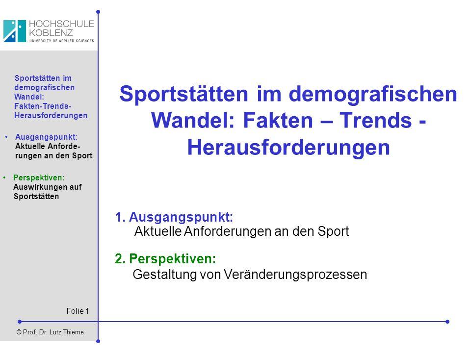 Folie 1 © Prof. Dr. Lutz Thieme Sportstätten im demografischen Wandel: Fakten-Trends- Herausforderungen Ausgangspunkt: Aktuelle Anforde- rungen an den