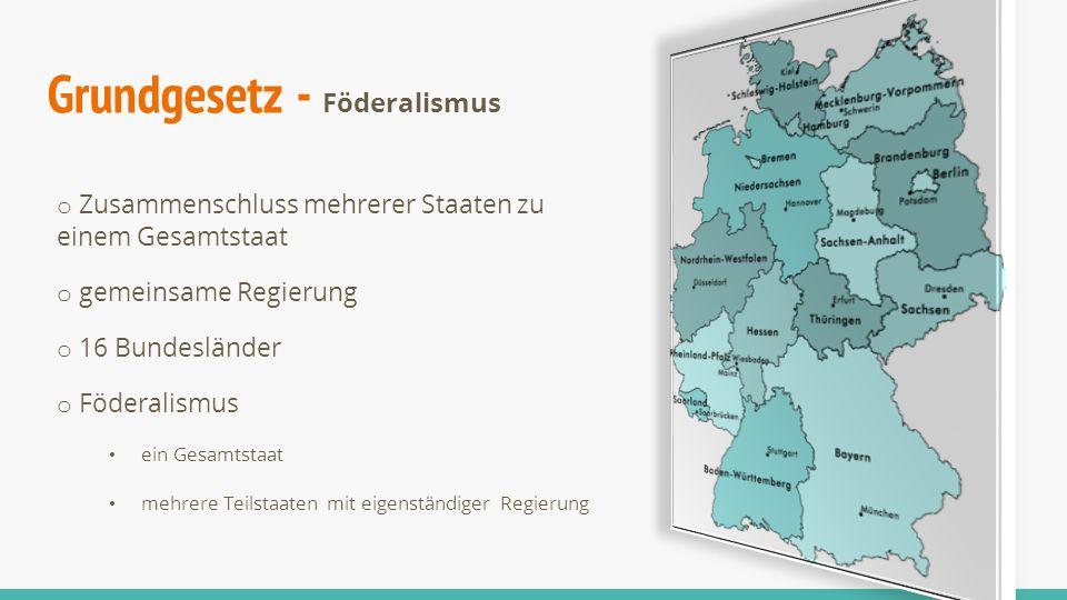 o Zusammenschluss mehrerer Staaten zu einem Gesamtstaat o gemeinsame Regierung o 16 Bundesländer o Föderalismus ein Gesamtstaat mehrere Teilstaaten mi