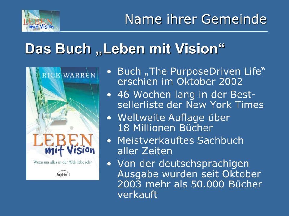 """Name ihrer Gemeinde Das Buch """"Leben mit Vision"""" Buch """"The PurposeDriven Life"""" erschien im Oktober 2002 46 Wochen lang in der Best- sellerliste der New"""