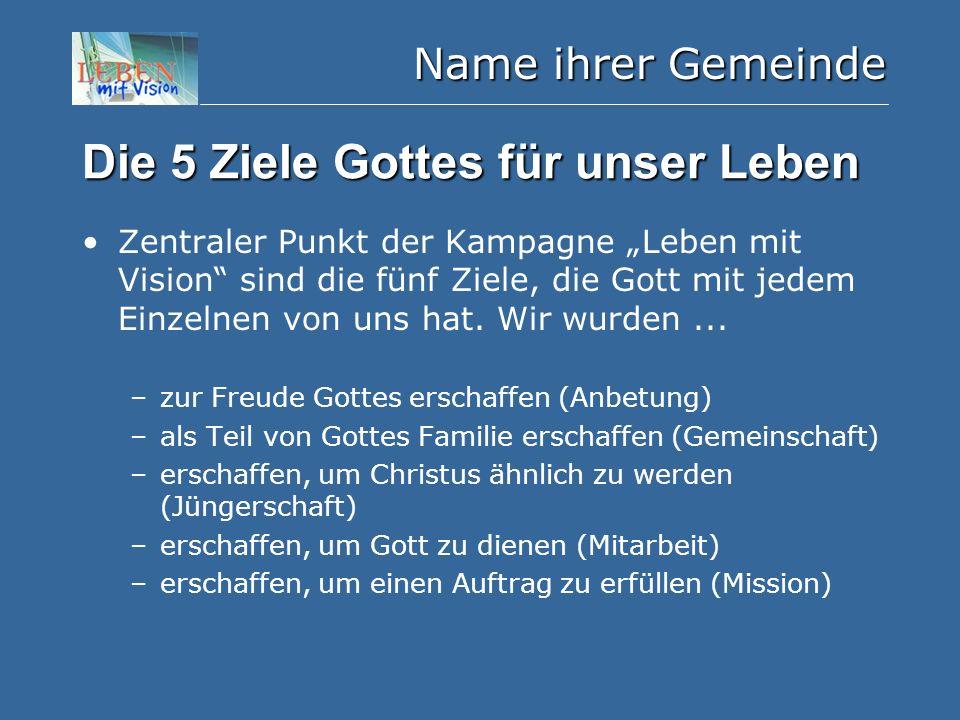 """Name ihrer Gemeinde Die 5 Ziele Gottes für unser Leben Zentraler Punkt der Kampagne """"Leben mit Vision"""" sind die fünf Ziele, die Gott mit jedem Einzeln"""