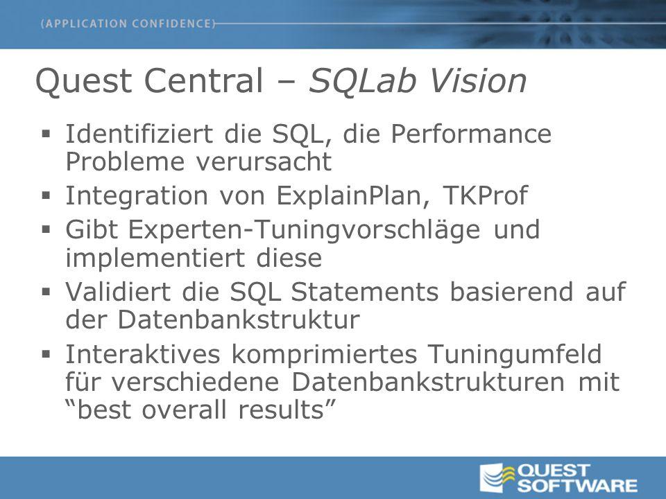 Quest Central – SQLab Vision  Identifiziert die SQL, die Performance Probleme verursacht  Integration von ExplainPlan, TKProf  Gibt Experten-Tuning