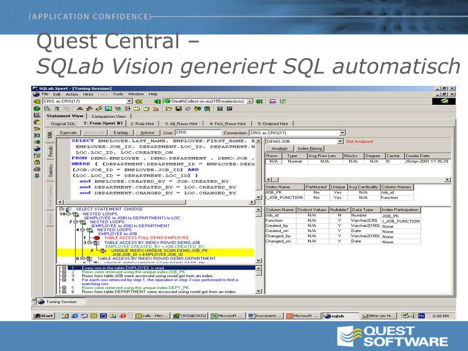 Quest Central – SQLab Vision generiert SQL automatisch