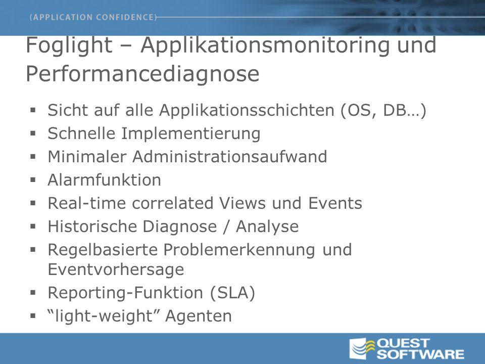 Foglight – Applikationsmonitoring und Performancediagnose  Sicht auf alle Applikationsschichten (OS, DB…)  Schnelle Implementierung  Minimaler Admi