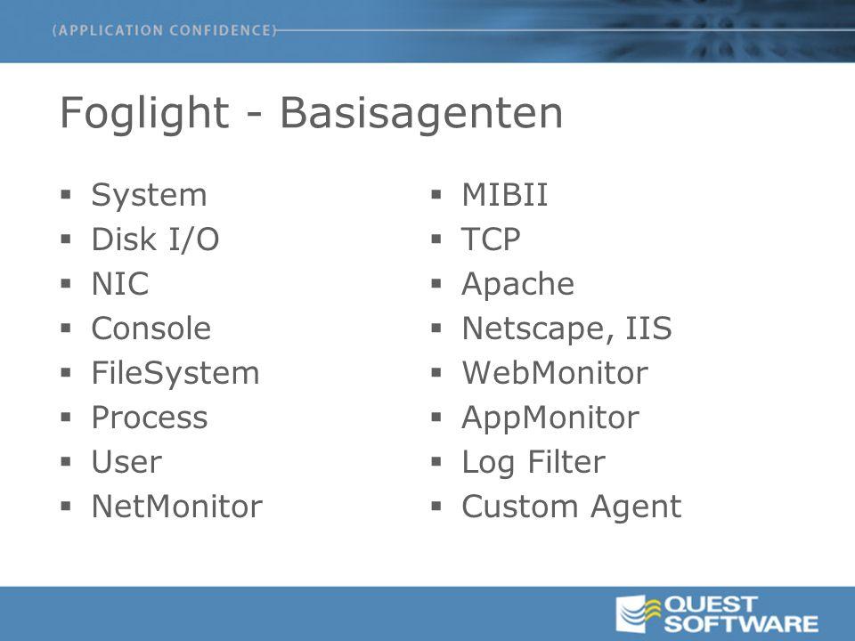 Foglight - Basisagenten  System  Disk I/O  NIC  Console  FileSystem  Process  User  NetMonitor  MIBII  TCP  Apache  Netscape, IIS  WebMonitor  AppMonitor  Log Filter  Custom Agent