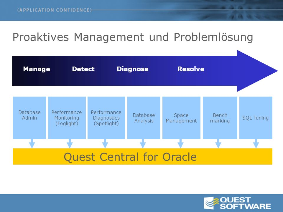 Proaktives Management und Problemlösung Quest Central for Oracle Performance Monitoring (Foglight) Database Admin Database Analysis Space Management P