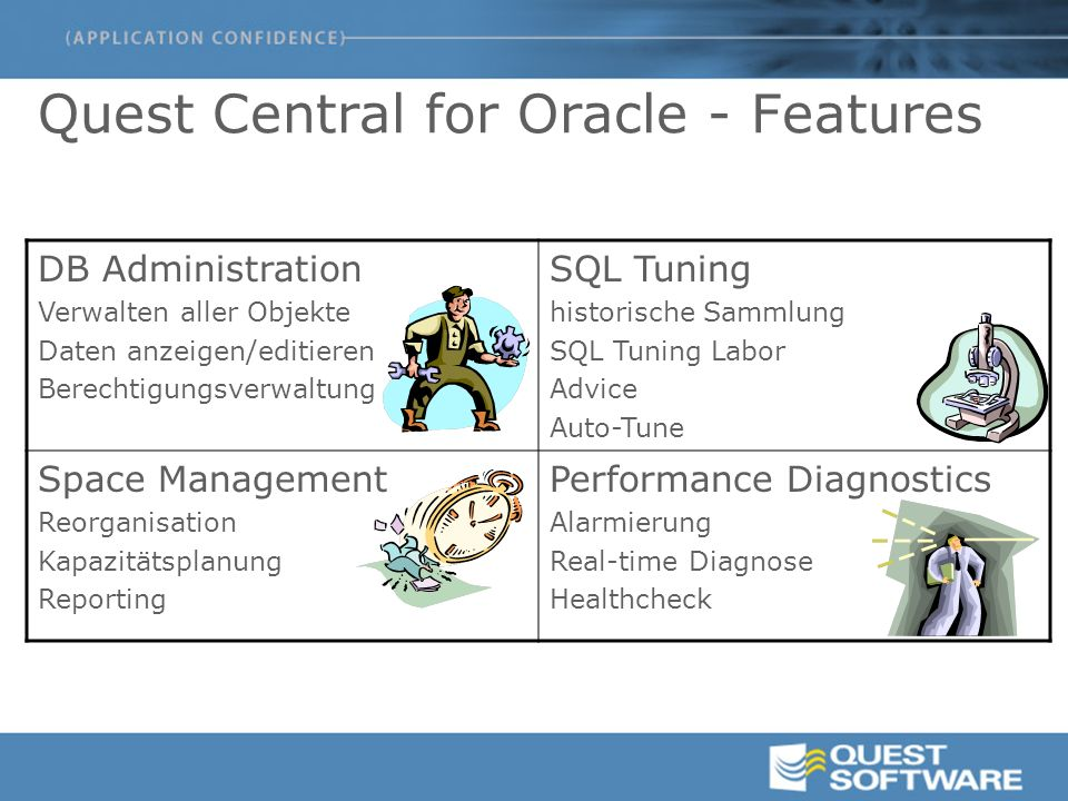 Quest Central – SQLab Vision  Identifiziert die SQL, die Performance Probleme verursacht  Integration von ExplainPlan, TKProf  Gibt Experten-Tuningvorschläge und implementiert diese  Validiert die SQL Statements basierend auf der Datenbankstruktur  Interaktives komprimiertes Tuningumfeld für verschiedene Datenbankstrukturen mit best overall results
