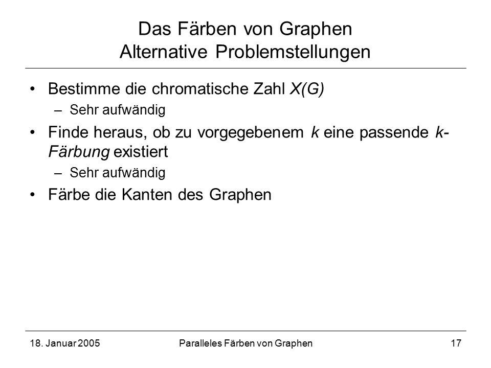 18. Januar 2005Paralleles Färben von Graphen17 Das Färben von Graphen Alternative Problemstellungen Bestimme die chromatische Zahl X(G) –Sehr aufwändi