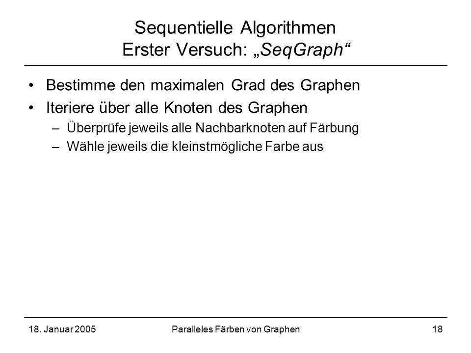 """18. Januar 2005Paralleles Färben von Graphen18 Sequentielle Algorithmen Erster Versuch: """"SeqGraph"""" Bestimme den maximalen Grad des Graphen Iteriere üb"""