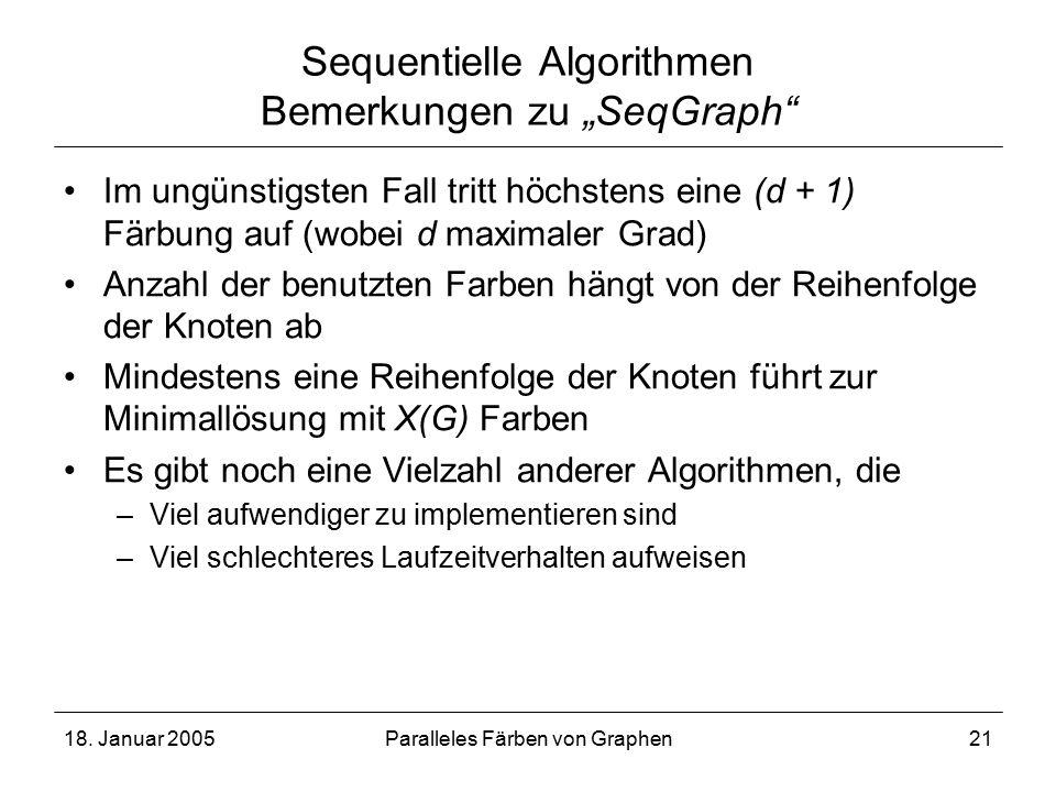 """18. Januar 2005Paralleles Färben von Graphen21 Sequentielle Algorithmen Bemerkungen zu """"SeqGraph"""" Im ungünstigsten Fall tritt höchstens eine (d + 1) F"""