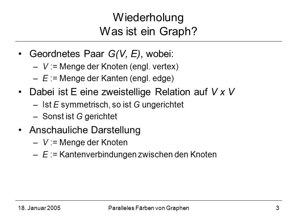18. Januar 2005Paralleles Färben von Graphen3 Wiederholung Was ist ein Graph.