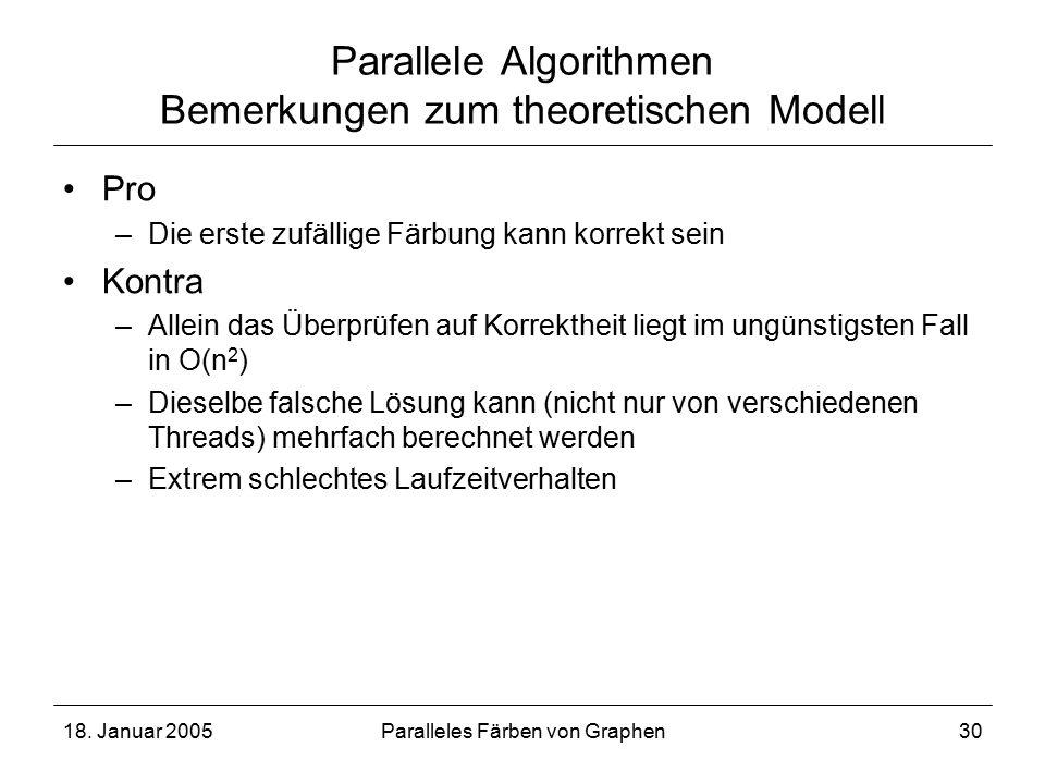 18. Januar 2005Paralleles Färben von Graphen30 Parallele Algorithmen Bemerkungen zum theoretischen Modell Pro –Die erste zufällige Färbung kann korrek