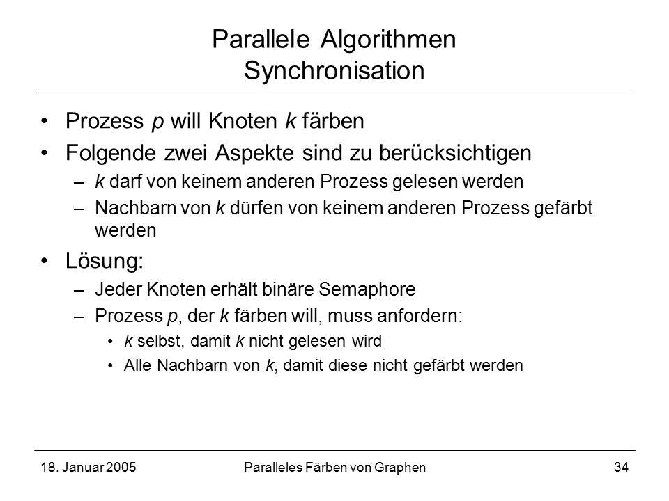 18. Januar 2005Paralleles Färben von Graphen34 Parallele Algorithmen Synchronisation Prozess p will Knoten k färben Folgende zwei Aspekte sind zu berü