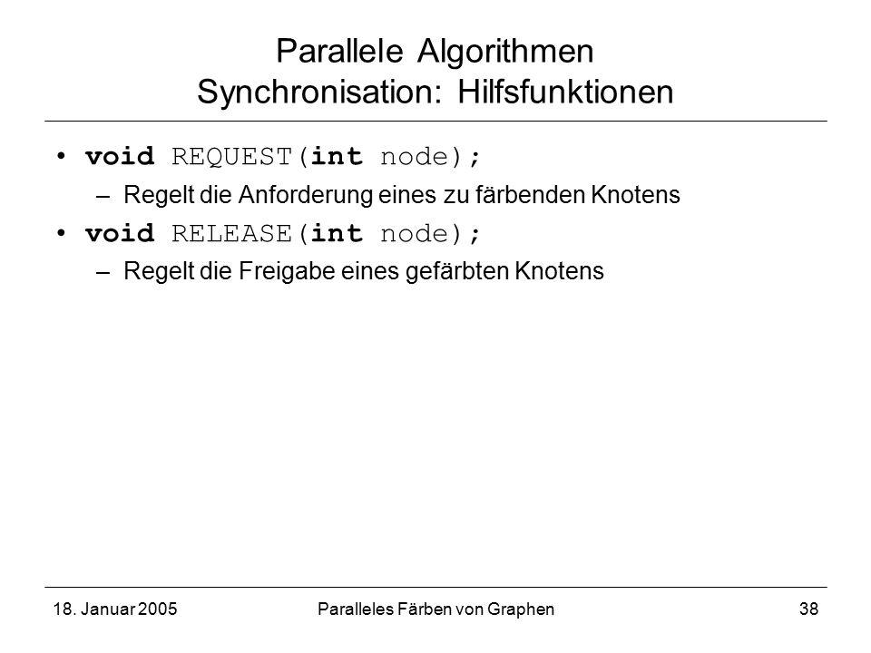 18. Januar 2005Paralleles Färben von Graphen38 Parallele Algorithmen Synchronisation: Hilfsfunktionen void REQUEST(int node); –Regelt die Anforderung