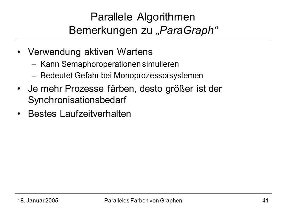 """18. Januar 2005Paralleles Färben von Graphen41 Parallele Algorithmen Bemerkungen zu """"ParaGraph"""" Verwendung aktiven Wartens –Kann Semaphoroperationen s"""
