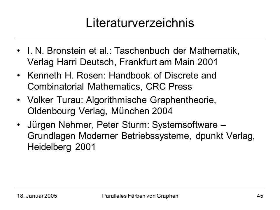 18. Januar 2005Paralleles Färben von Graphen45 Literaturverzeichnis I.