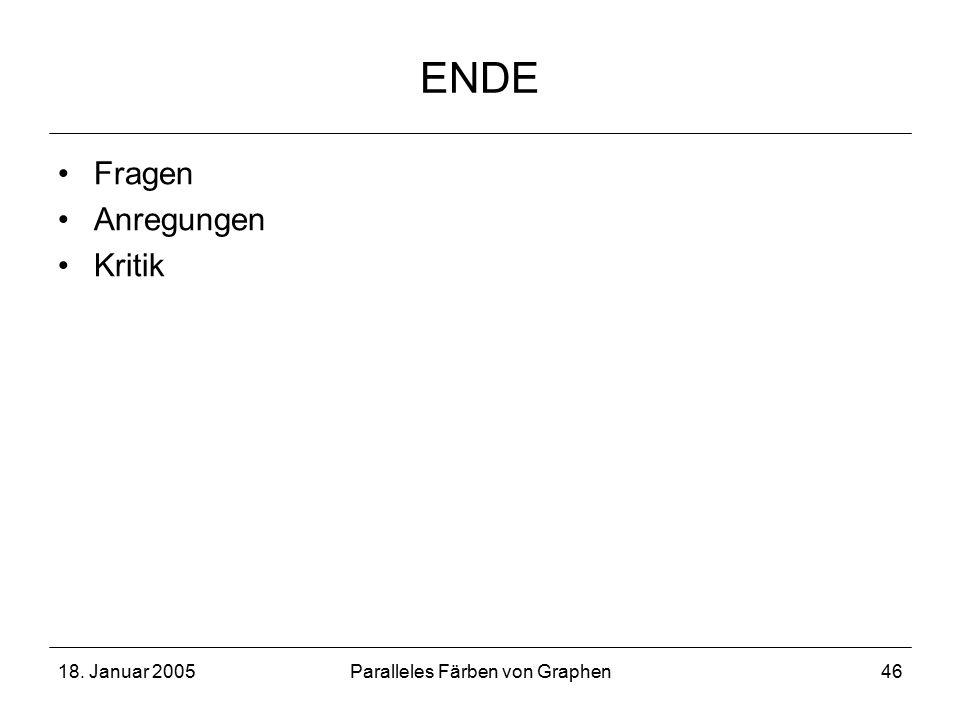 18. Januar 2005Paralleles Färben von Graphen46 ENDE Fragen Anregungen Kritik