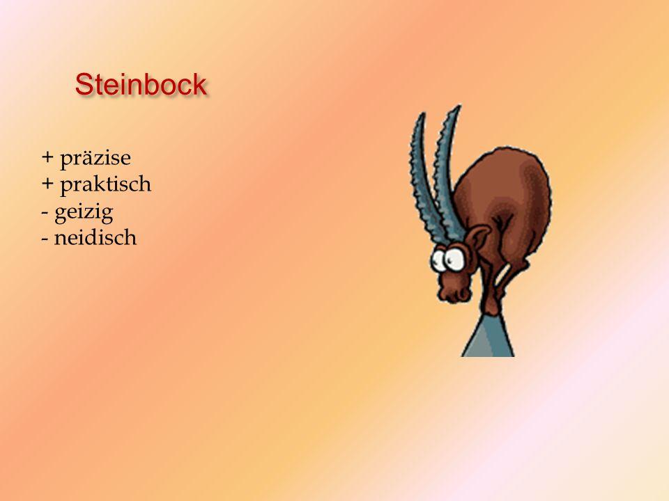 Steinbock + präzise + praktisch - geizig - neidisch