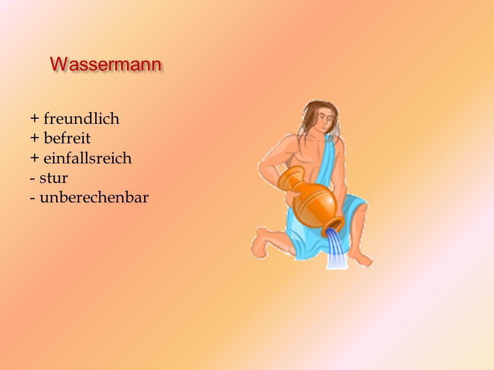 Wassermann + freundlich + befreit + einfallsreich - stur - unberechenbar
