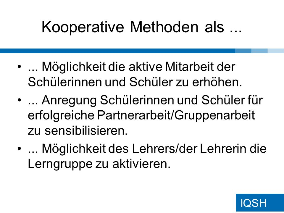 IQSH Kooperative Methoden als......