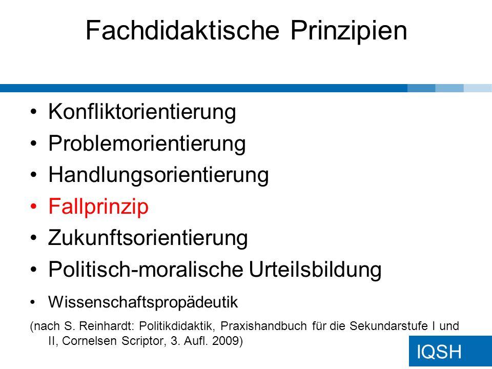 IQSH Fachdidaktische Prinzipien Konfliktorientierung Problemorientierung Handlungsorientierung Fallprinzip Zukunftsorientierung Politisch-moralische Urteilsbildung Wissenschaftspropädeutik (nach S.