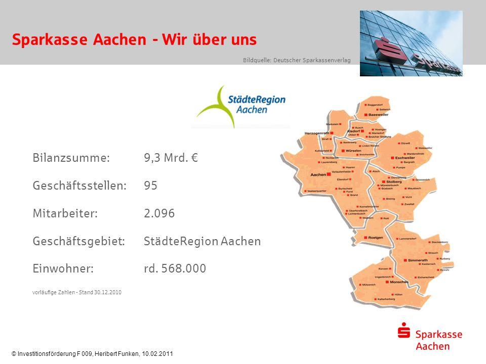 © Investitionsförderung F 009, Heribert Funken, 10.02.2011 Sparkasse Aachen - Wir über uns Bilanzsumme:9,3 Mrd. € Geschäftsstellen:95 Mitarbeiter: 2.0