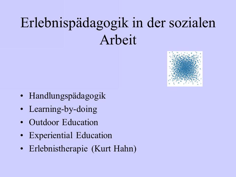 Erlebnispädagogik in der sozialen Arbeit Handlungspädagogik Learning-by-doing Outdoor Education Experiential Education Erlebnistherapie (Kurt Hahn)