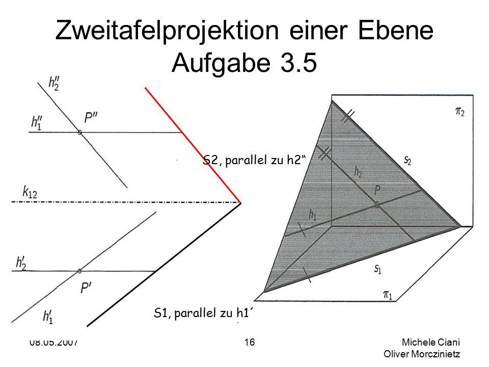 08.05.2007 Michele Ciani Oliver Morczinietz 16 Zweitafelprojektion einer Ebene Aufgabe 3.5 S2, parallel zu h2 S1, parallel zu h1´