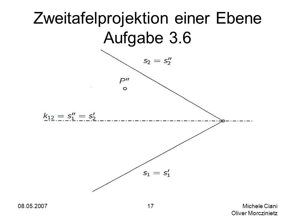 08.05.2007 Michele Ciani Oliver Morczinietz 17 Zweitafelprojektion einer Ebene Aufgabe 3.6