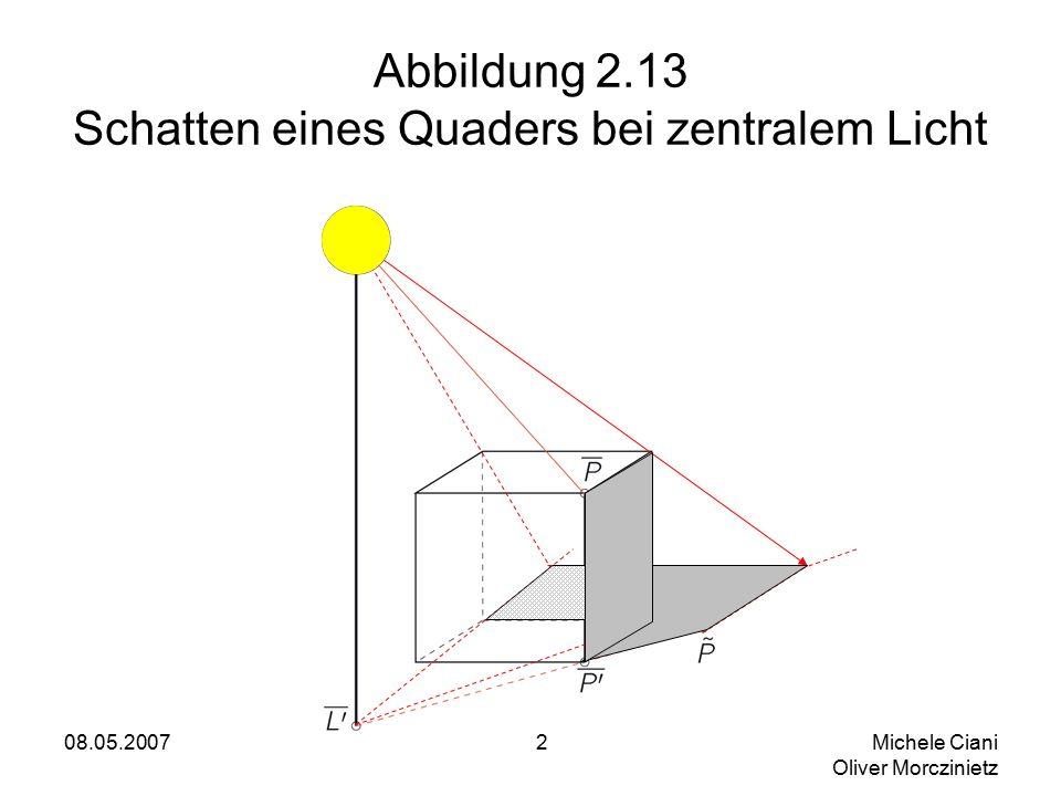 08.05.2007 Michele Ciani Oliver Morczinietz 2 Abbildung 2.13 Schatten eines Quaders bei zentralem Licht