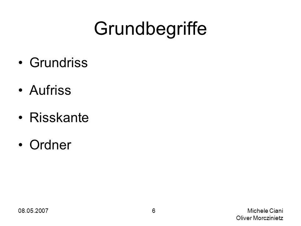 08.05.2007 Michele Ciani Oliver Morczinietz 6 Grundbegriffe Grundriss Aufriss Risskante Ordner