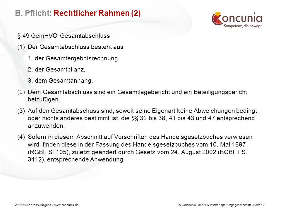 WP/StB Andreas Jürgens - www.concunia.de© Concunia GmbH Wirtschaftsprüfungsgesellschaft - Seite 12 § 49 GemHVO Gesamtabschluss (1)Der Gesamtabschluss besteht aus 1.