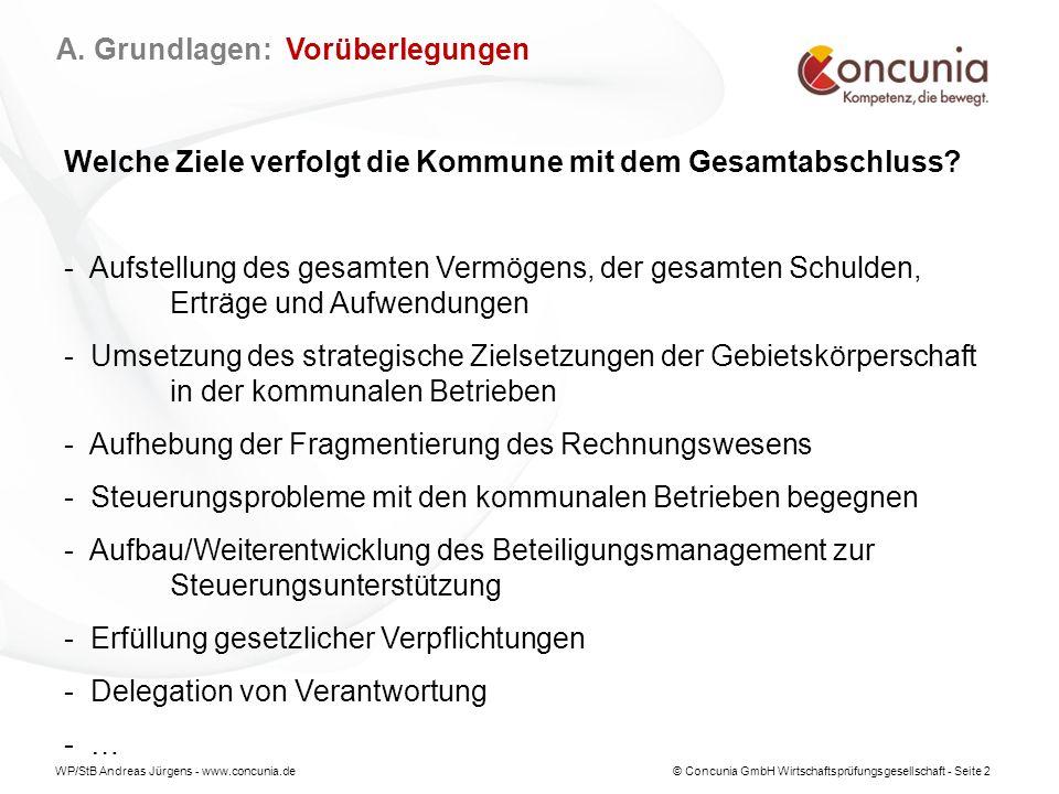 WP/StB Andreas Jürgens - www.concunia.de© Concunia GmbH Wirtschaftsprüfungsgesellschaft - Seite 13 § 50 GemHVO Konsolidierung (1)Verselbständigte Aufgabenbereiche in öffentlich-rechtlichen Organisationsformen sind entsprechend den §§ 300 bis 309 des Handelsgesetzbuches zu konsolidieren.