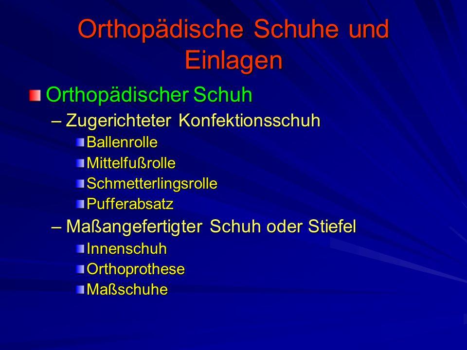 Orthopädische Schuhe und Einlagen Orthopädischer Schuh –Zugerichteter Konfektionsschuh BallenrolleMittelfußrolleSchmetterlingsrollePufferabsatz –Maßangefertigter Schuh oder Stiefel InnenschuhOrthoprotheseMaßschuhe