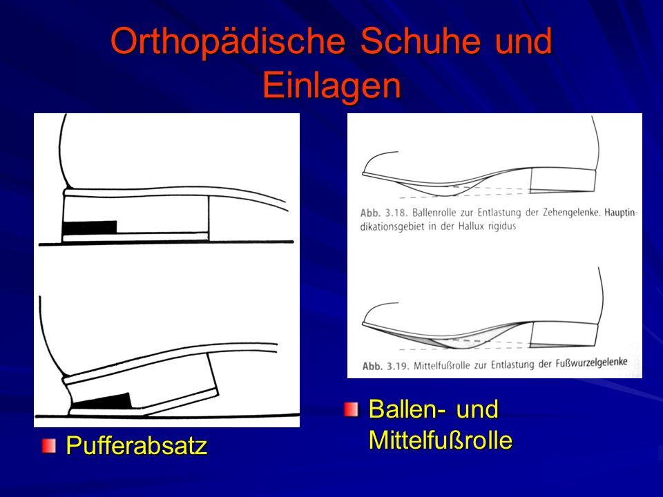 Orthopädische Schuhe und Einlagen Pufferabsatz Ballen- und Mittelfußrolle